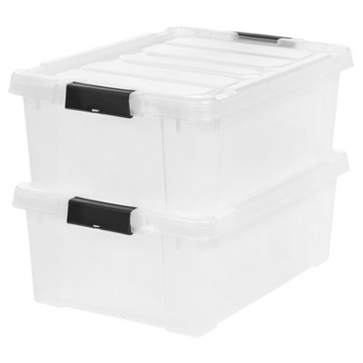 IRIS 10 Gal. Heavy Duty Plastic Storage Bin - 2pk, Clear