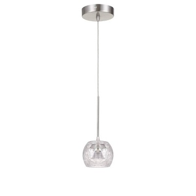 """4.5"""" x 4.5"""" x 10"""" LED Dimmable Mini Pendant with Smoked Glass Brushed Steel - Cal Lighting"""