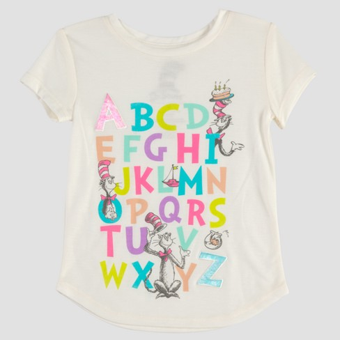 Toddler Girls' Dr. Seuss Cat in the Hat ABC Short Sleeve T-Shirt - Ivory - image 1 of 2