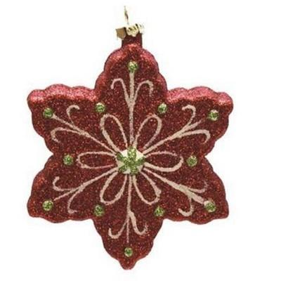 "Northlight 4.25"" Glitter Shatterproof Snowflake Christmas Ornament - Red/Green"