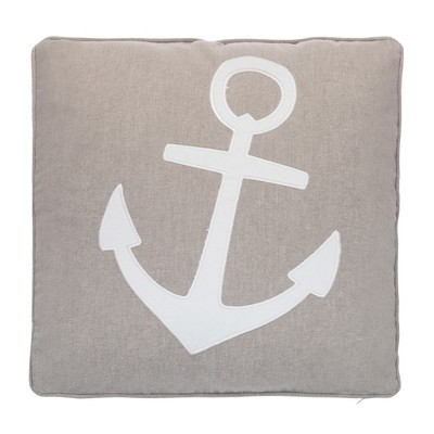 Provincetown Appliqued Anchor Pillow - Tan and White - Levtex Home