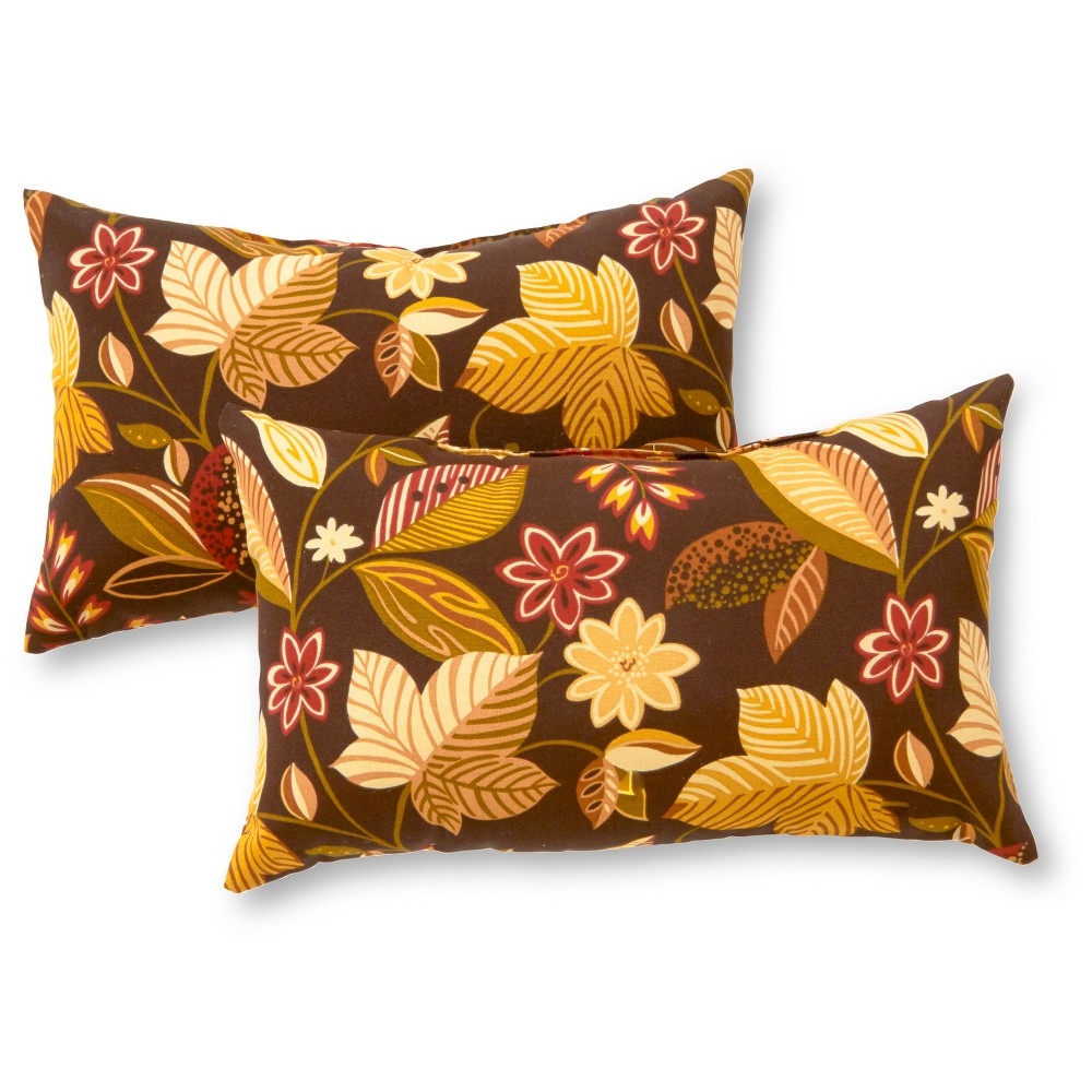 Set of 2 Timberland Floral Outdoor Rectangle Throw Pillows - Greendale Home Fashions