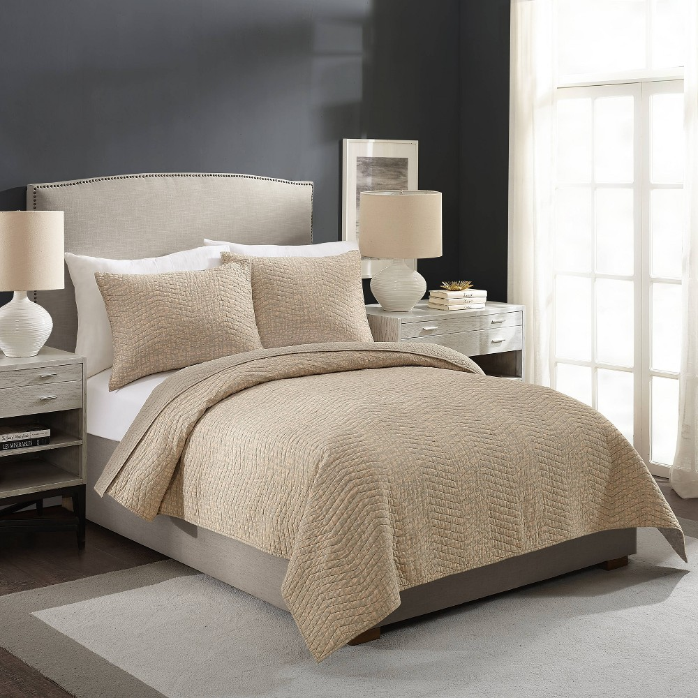Image of Ayesha Curry King Abstract Texture Quilt Taupe/Natural, Gray