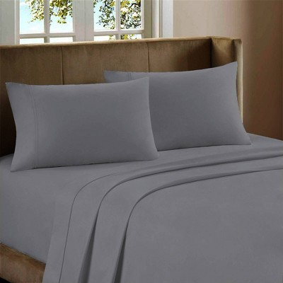 King 600 Thread Count Cotton Rich Sateen Sheet Set Light Blue - Color Sense