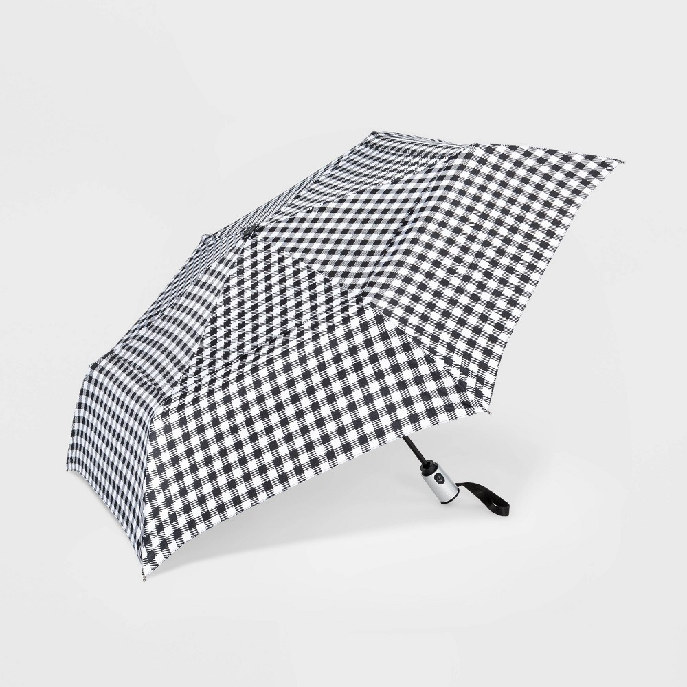Image of Cirra by ShedRain Gingham Air Vent Auto Open Close Compact Umbrella - Black, Adult Unisex, White Black
