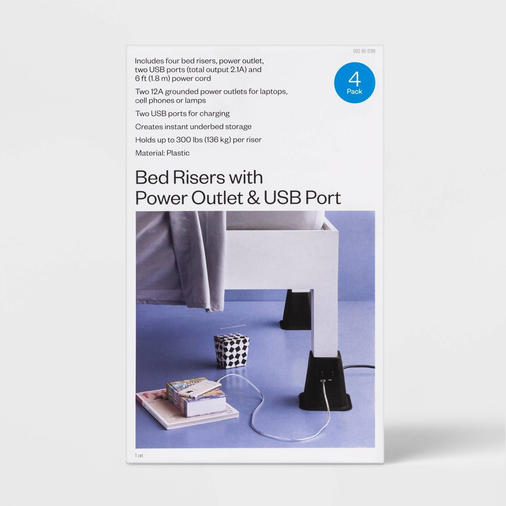 Image of USB Power Bed Risers - Room Essentials , Black