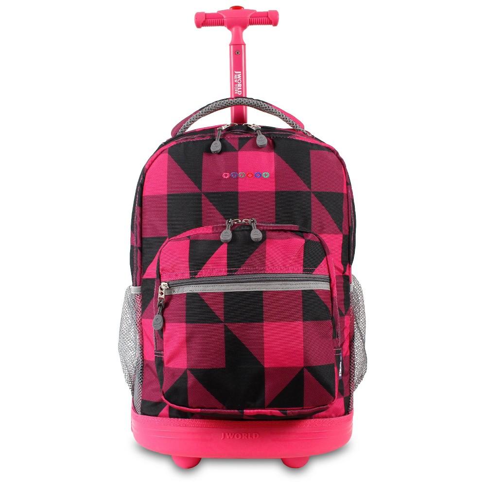 J World 18 Sunrise Rolling Backpack Pink Black