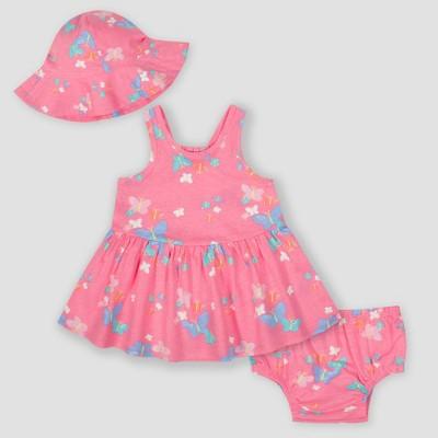 Gerber Baby Girls' 3pc Butterflies Dress Set - Pink 0-3M