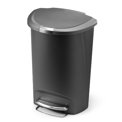 simplehuman 50L SemiRound Plastic Step Trash Can Gray