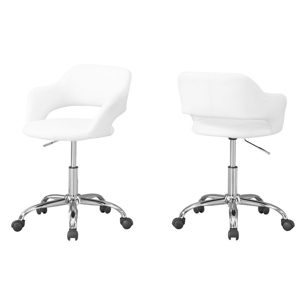 Office Chair Chrome Metal Hydraulic Lift Base White - EveryRoom