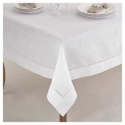 "84"" Hemstitch Border Design Tablecloth White - Saro Lifestyle"