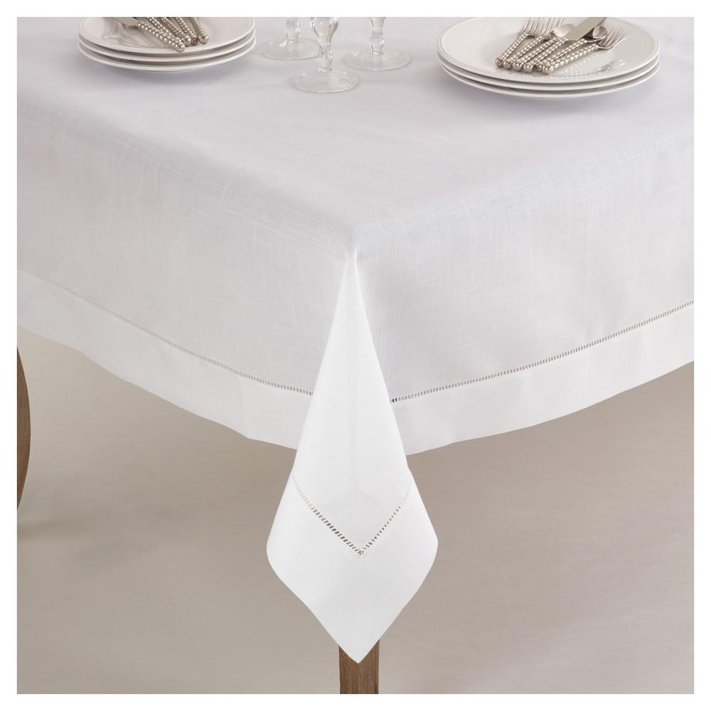 "White Classic Hemstitch Border Design Tablecloth (84"") Saro Lifestyle"