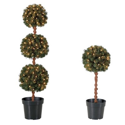 Home Heritage 4 Ft Artificial Tree w/ Lights + 2.5 Ft Artificial Tree w/ Lights