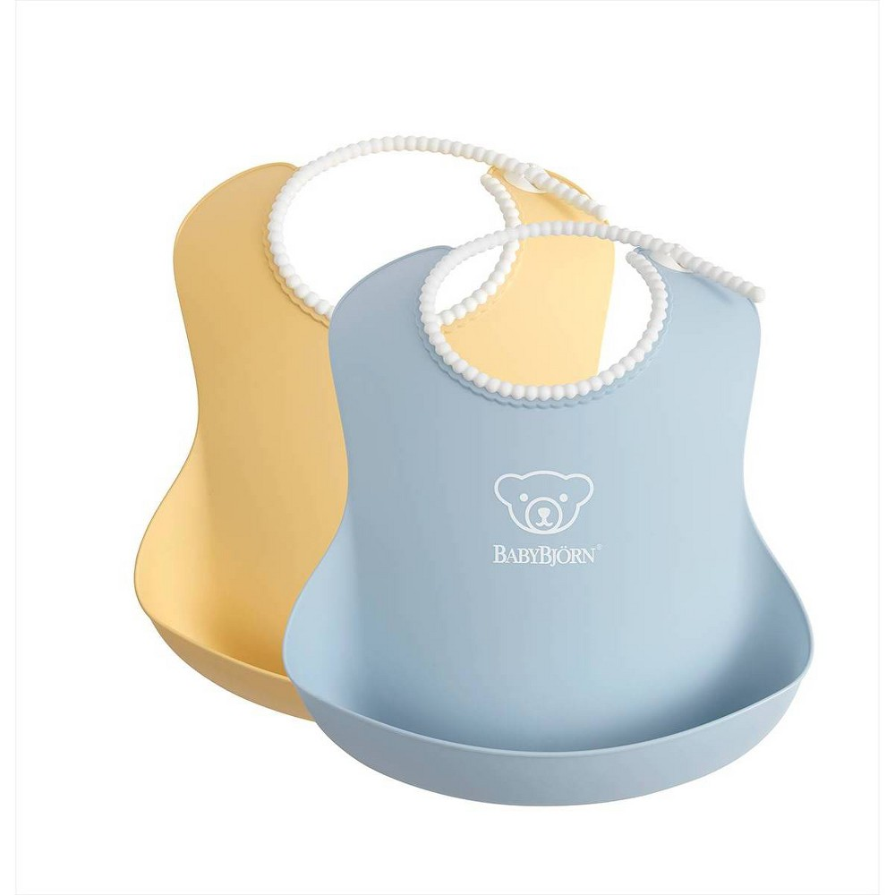 Image of BabyBjorn Baby Bib - Powder Yellow/Blue