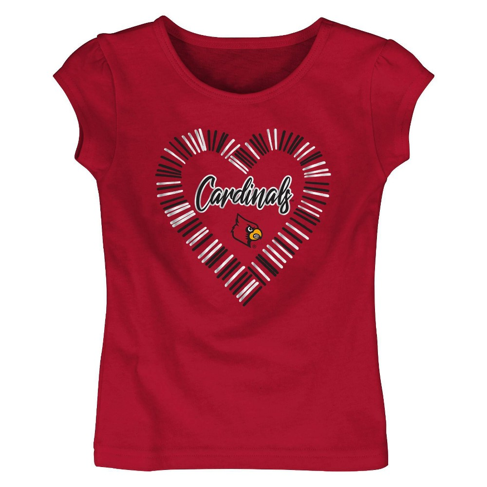 Ncaa Louisville Cardinals Toddler Girls 39 Short Sleeve Crew Neck T Shirt 4t