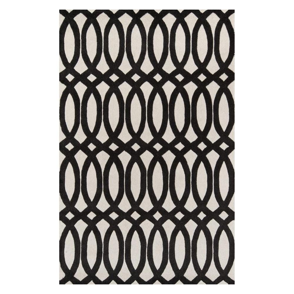 5'X8' Geometric Tufted Area Rug Black - Momeni