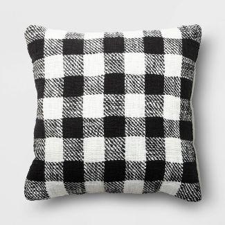 Holiday Woven Cotton Slub Buffalo Checked Square Throw Pillow Black/White - Wondershop™