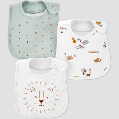 Baby 3pk Safari Bib - Just One You® made by carter's Green/Gray
