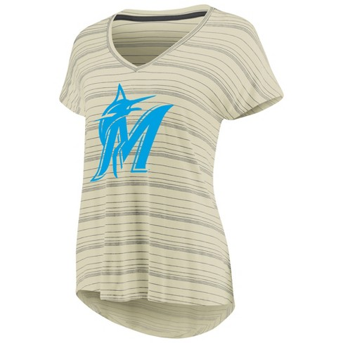 1a01a13b MLB Miami Marlins Women's Starting Strong Cream Versalux T-Shirt : Target