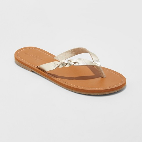 6efff4a93 Women s Bobbie Braided Thong Flip Flop Sandals - Universal Thread™ Gold 5    Target