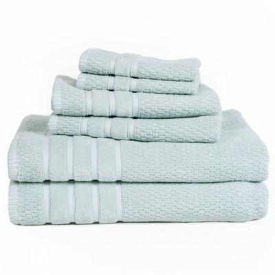 6pc Chevron Bath Towels Set Green - Yorkshire Home