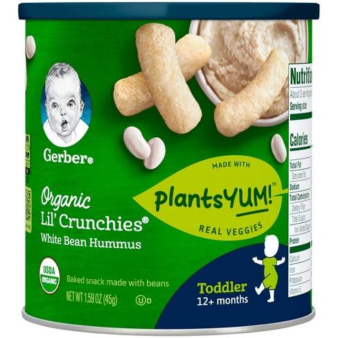 gerber organic lil crunchies plantsyum baked snack beans white bean hummus 1 59oz