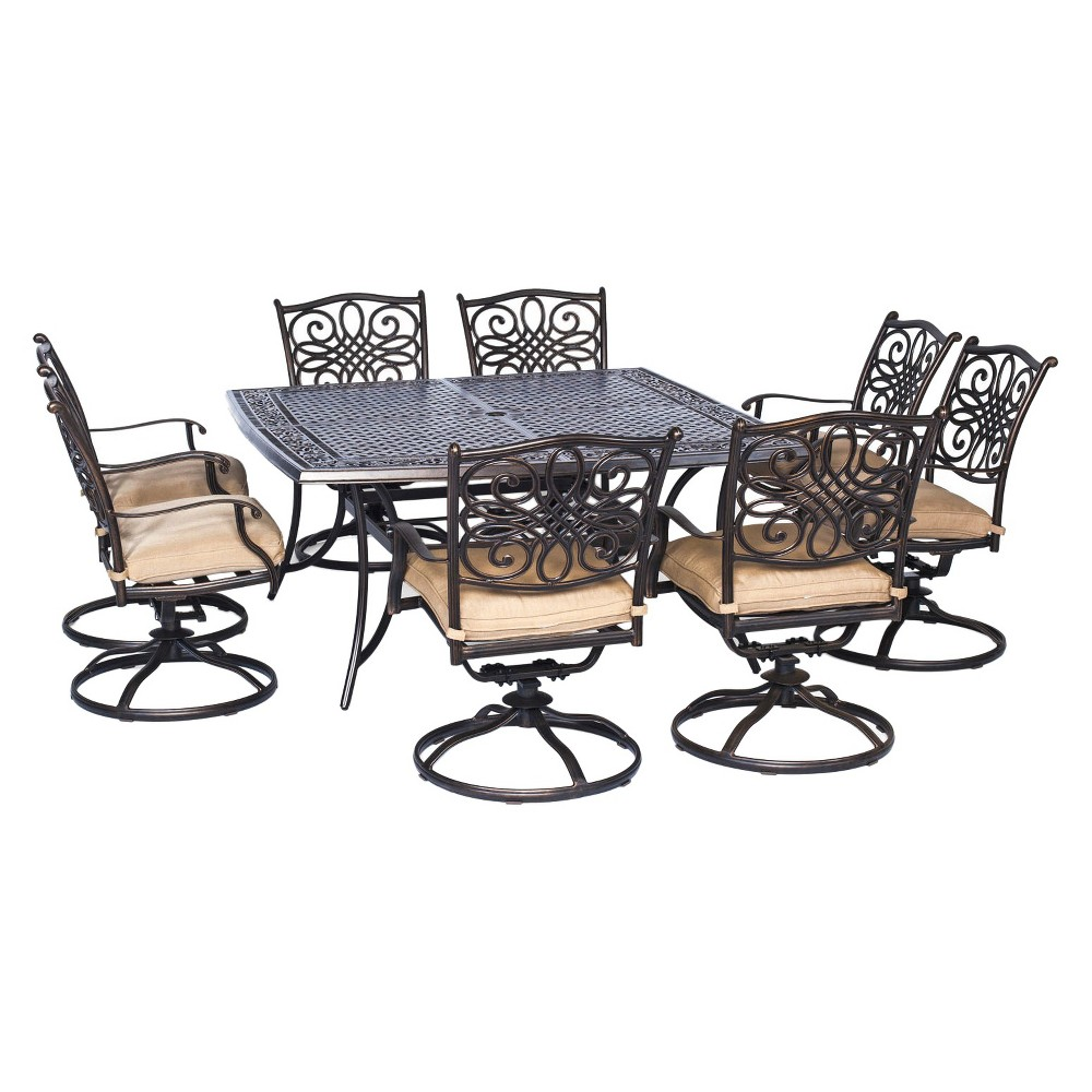 Hanover Traditions 9-Piece Square Dining Set with Eight Swivel Dining Chairs and a Large Dining Table - 60