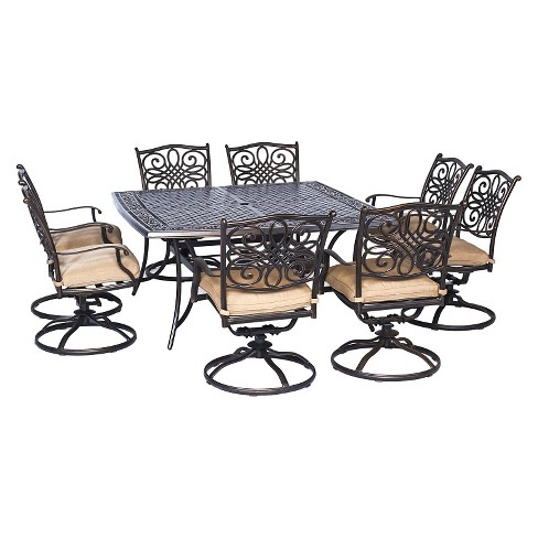 Hanover Traditions 9 Piece Square Dining Set With Eight Swivel