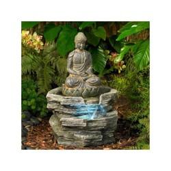 "John Timberland Rustic Zen Buddha Outdoor Floor Water Fountain with Light LED 21"" High Sitting for Yard Garden Patio Deck Home"