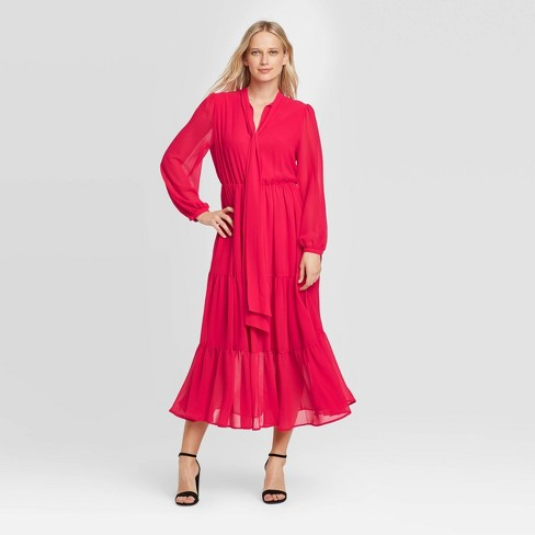 Women's Long Sleeve Round Neck Romantic Midi Dress - Who What Wear™ - image 1 of 3