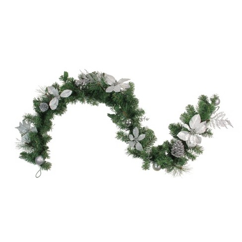 """Northlight 6' x 9"""" Unlit Silver Poinsettia and Pinecone Artificial Christmas Garland - image 1 of 1"""