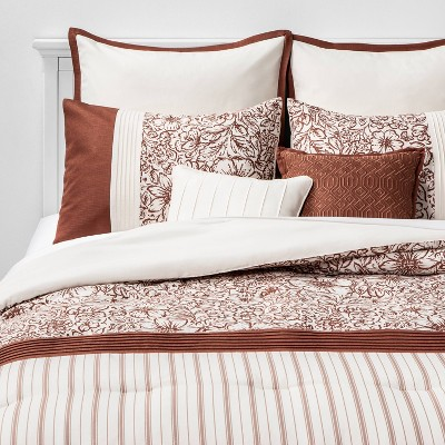 Queen Kelsie Floral Stripe 8pc Bed Set Spice