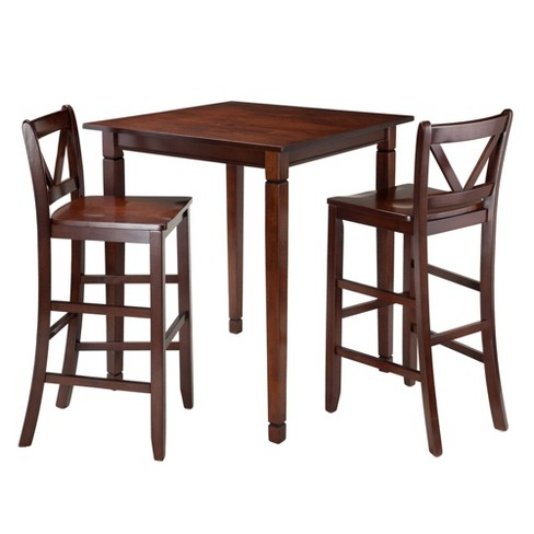 3 Piece Kingsgate Set High Table with V-Back Bar Stools Wood/Walnut - Winsome - image 1 of 4