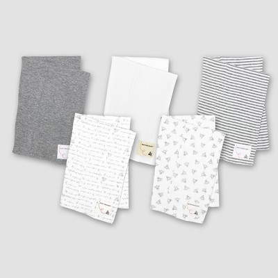 Burt's Bees Baby® Organic Cotton 5pk Solid/Print Burp Cloth Set - Heather Gray