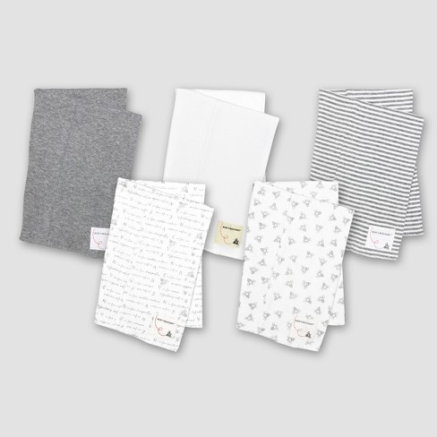 36515b64190f Burt s Bees Baby® Organic Cotton 5pk Solid Print Burp Cloth Set - Heather  Gray   Target
