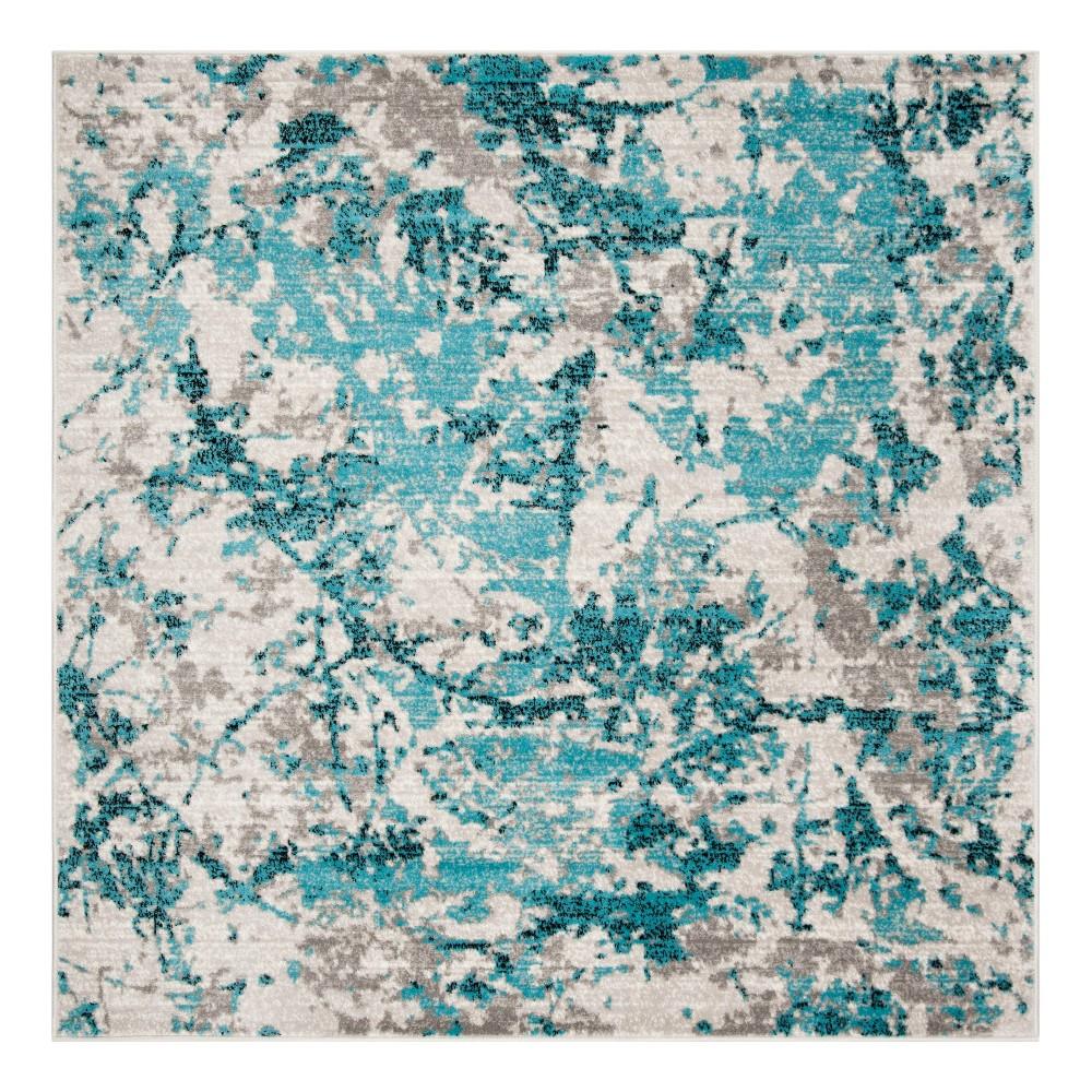 Blue Ivory Fleck Loomed Square Area Rug 6 7 X6 7 Safavieh