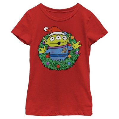 Toy Story Kids Toy Story Aliens Wreath Slim Fit Short Sleeve Crew Graphic Tee - Red Small