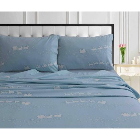 Twin Xl Printed Pattern Extra Deep Pocket Heavyweight Flannel Sheet Set Santa S Sleigh Tribeca Living Target