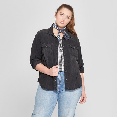 257eed5cea Women s Plus Size Labette Denim Long Sleeve Shirt - Universal Thread™ Dark  Gray