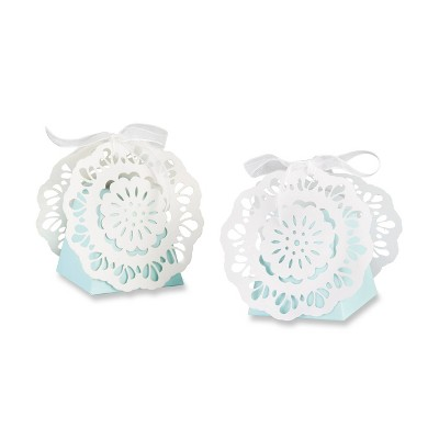 Set Of 12 Lace Favor Box Blue