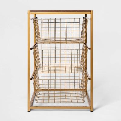 3 Drawer Organizer Brass with Walnut Wood - Threshold™