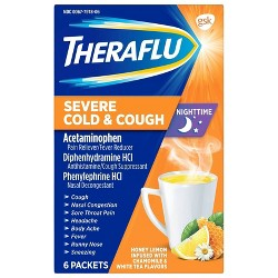 Theraflu Nighttime Severe Cold & Cough Relief Powder - Acetaminophen - Honey Lemon - 6ct
