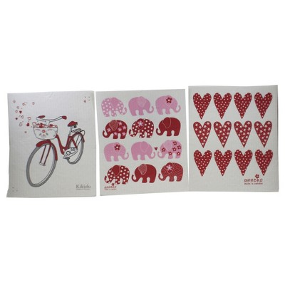"Swedish Dish Cloth 7.75"" Heart Bicycle Elephant Dish Swedish Dish Cloth  -  Dish Cloth"