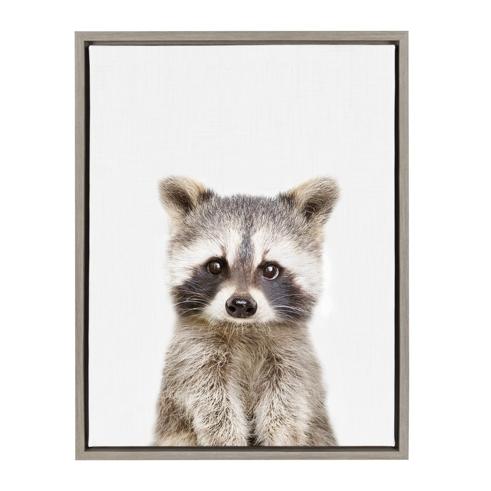 """Image of """"Kate & Laurel 24""""""""x18"""""""" Sylvie Baby Racoon Animal Print Portrait By Amy Peterson Framed Wall Canvas Gray"""""""