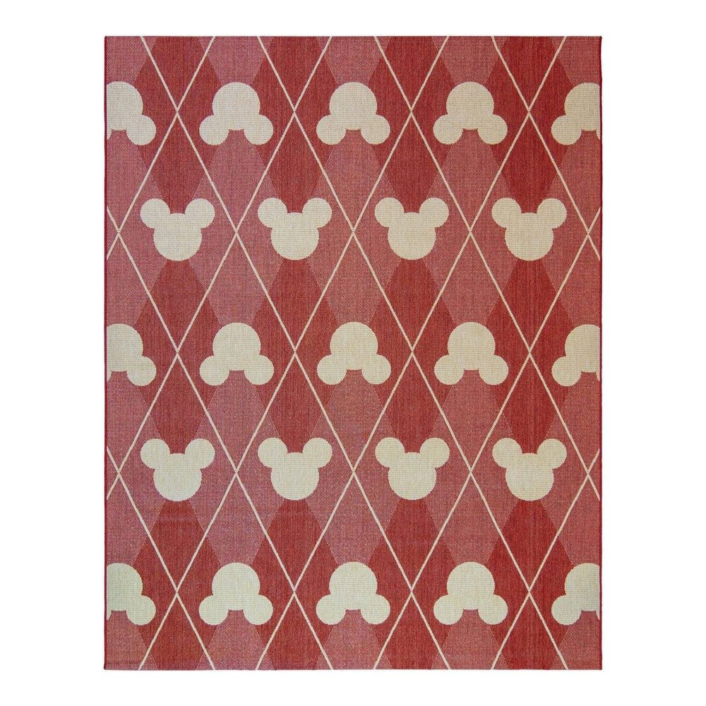 Image of 5'x7' Mickey Mouse and Friends Argyle Outdoor Rug Red