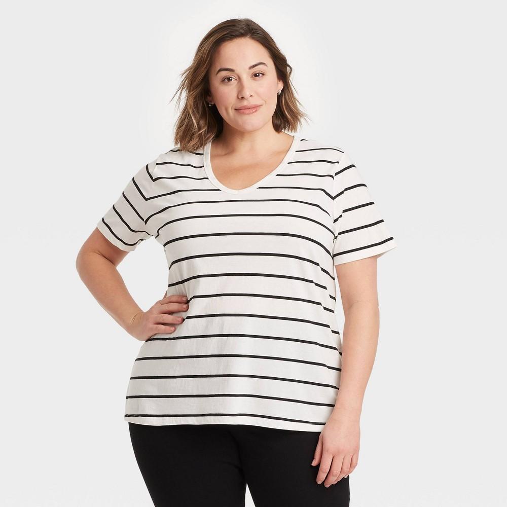 Women 39 S Plus Size V Neck Striped Essential Slim Fit T Shirt Ava 38 Viv 8482 White 2x
