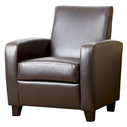 Bailey Club Chair Leather Dark Brown - Abbyson Living - image 1 of 4