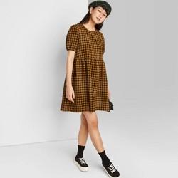 Women's Puff Short Sleeve Seersucker Dress - Wild Fable™