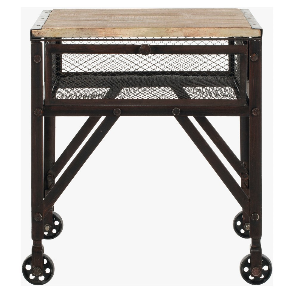 Linus Rolling Accent Table Black - Safavieh