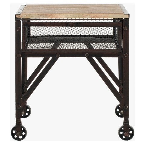 Linus Rolling Accent Table Black - Safavieh® - image 1 of 4